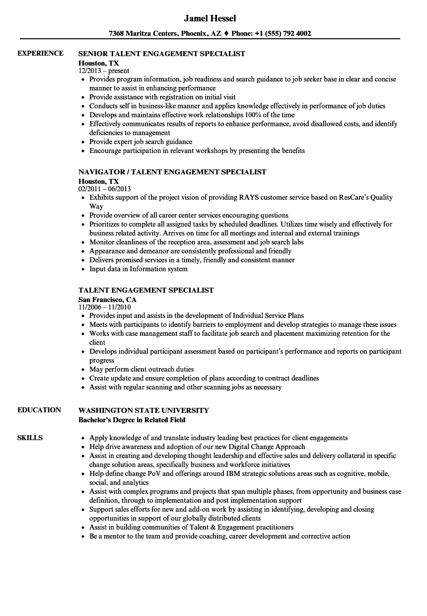 Talent & Engagement Resume Samples | Velvet Jobs