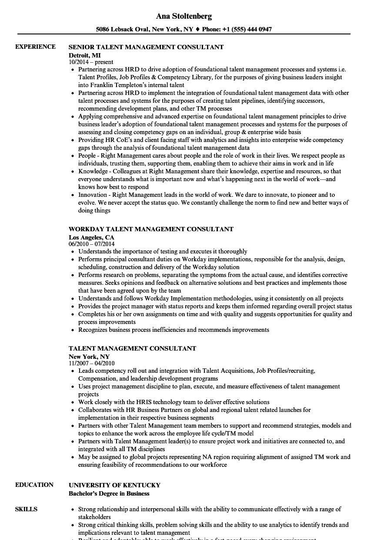 talent management consultant resume samples