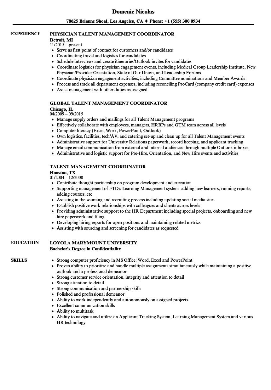talent management coordinator resume samples