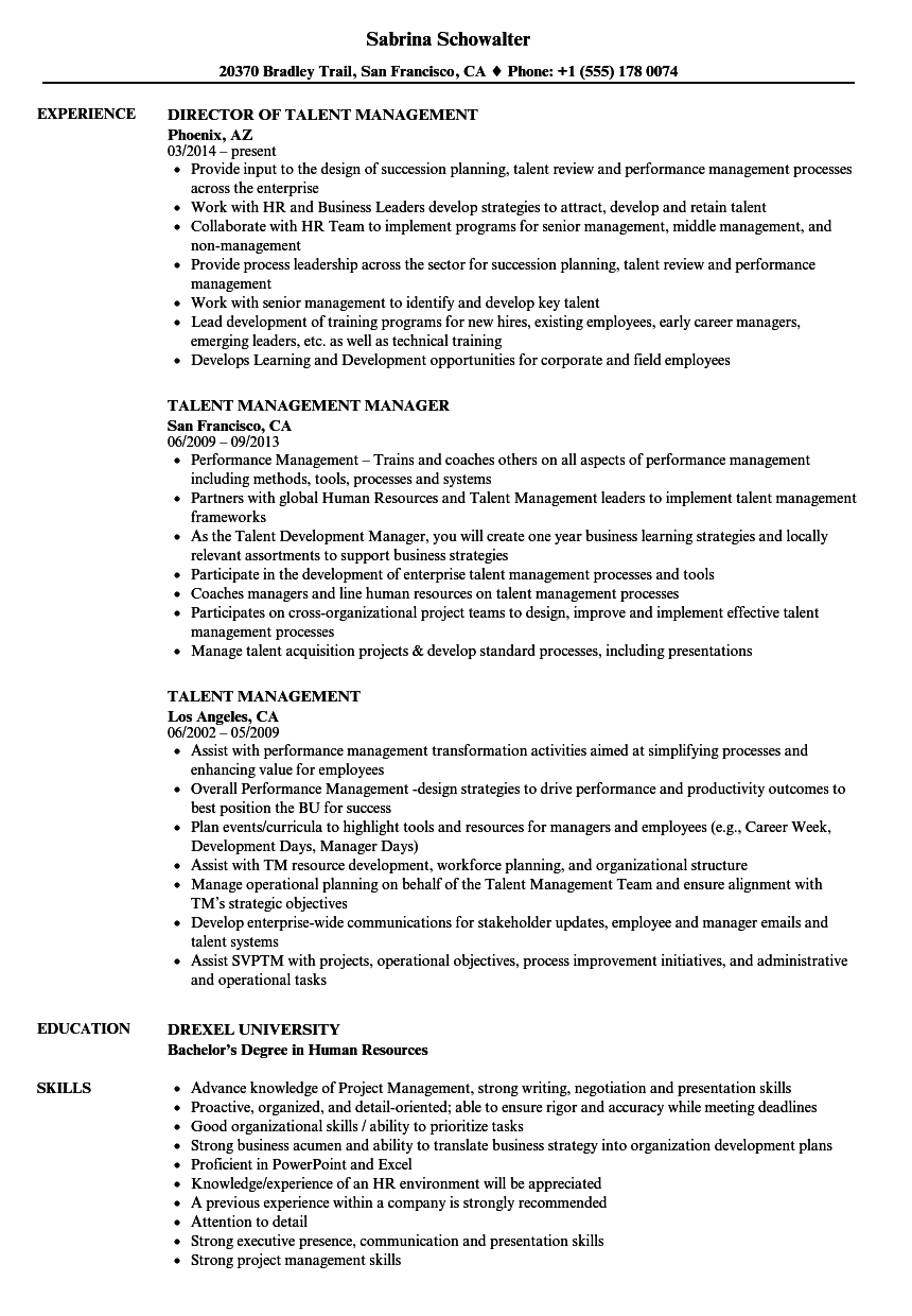 talent management resume samples