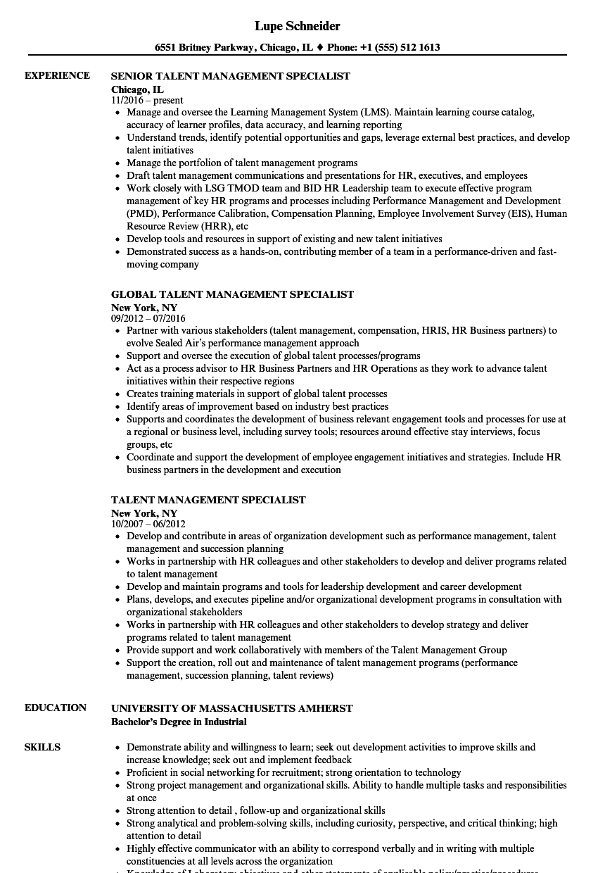 talent management specialist resume samples