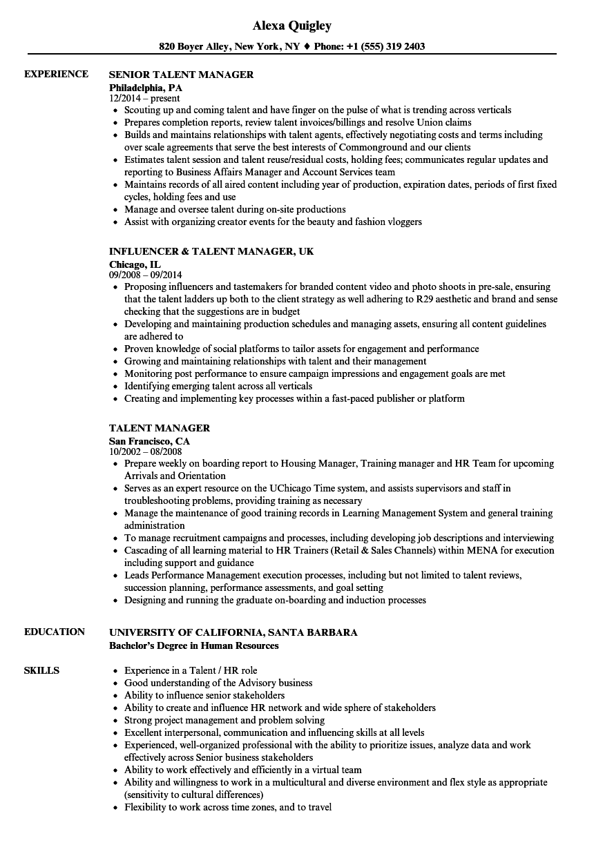 talent manager resume samples