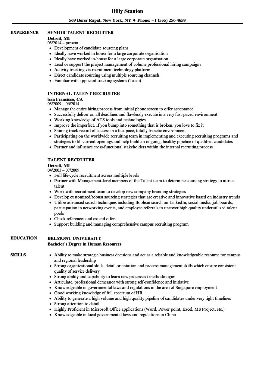 Talent Recruiter Resume Samples Velvet Jobs