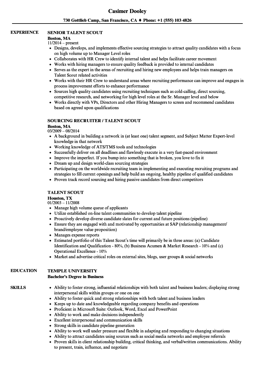 Talent Scout Resume Samples | Velvet Jobs