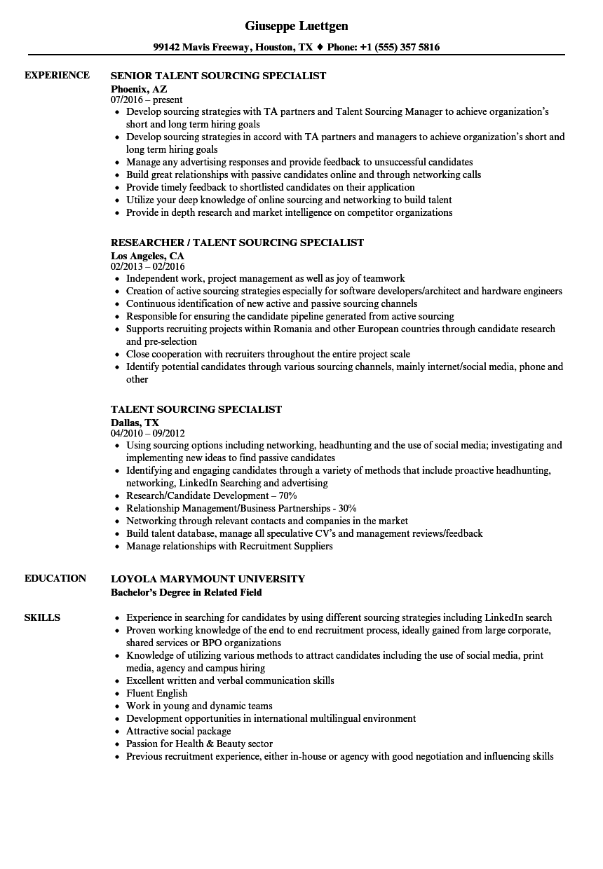 Talent Sourcing Specialist Resume Samples Velvet Jobs