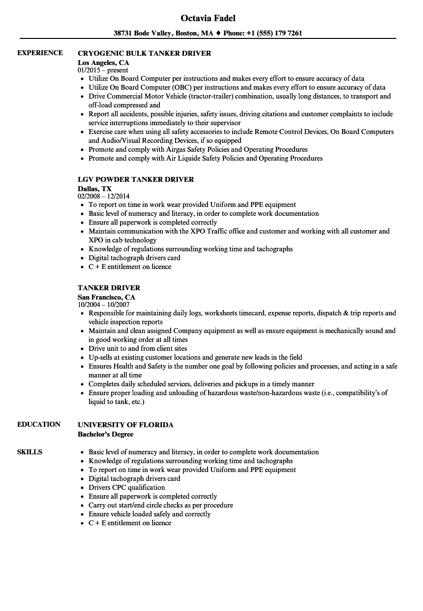 resume Sample Resume For A Driver tanker driver resume samples velvet jobs download sample as image file