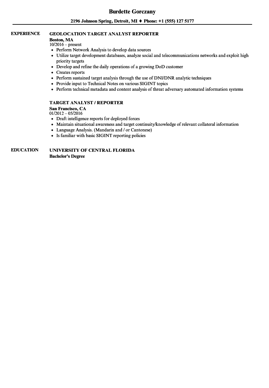 Download Target Analyst Reporter Resume Sample As Image File  Target Resume