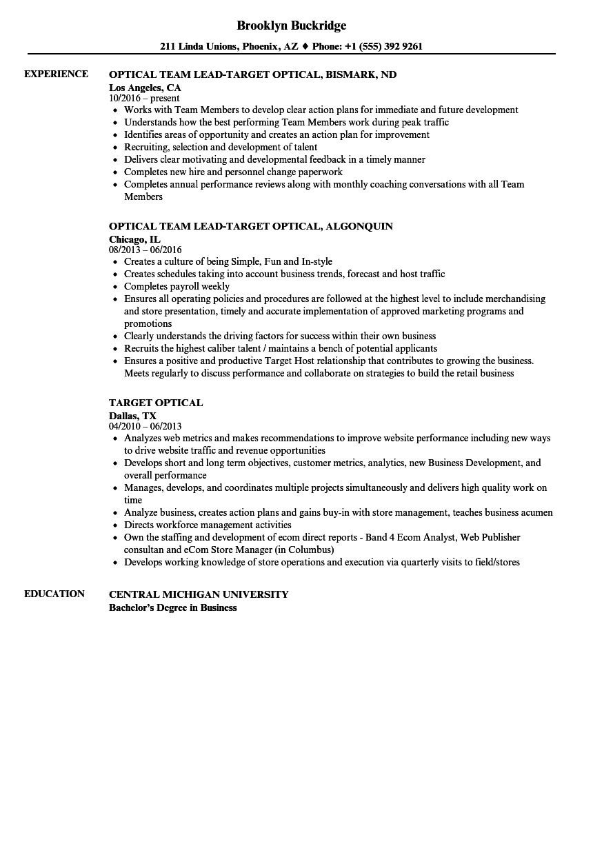 target optical resume samples