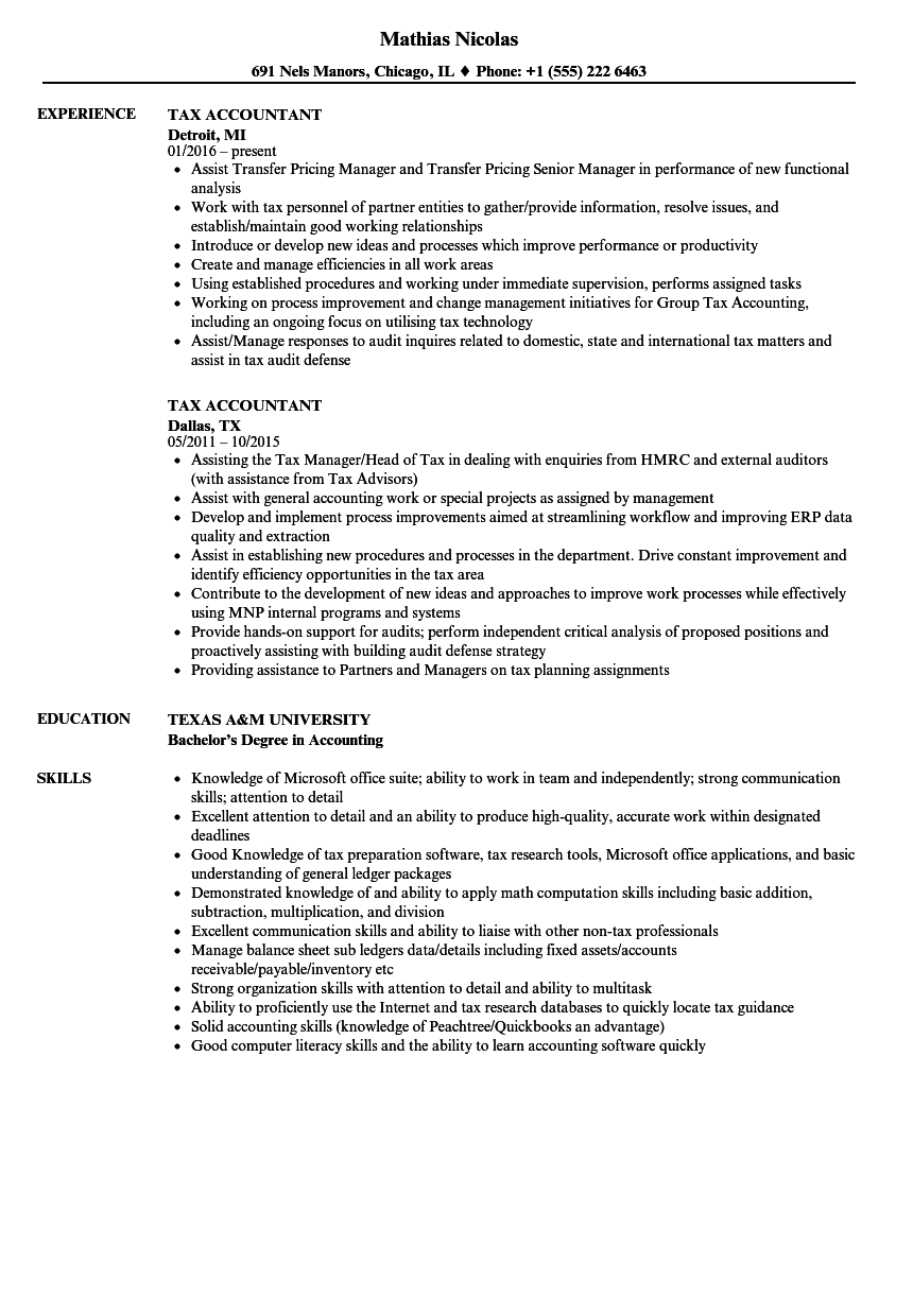 Tax Accountant Resume Samples | Velvet Jobs