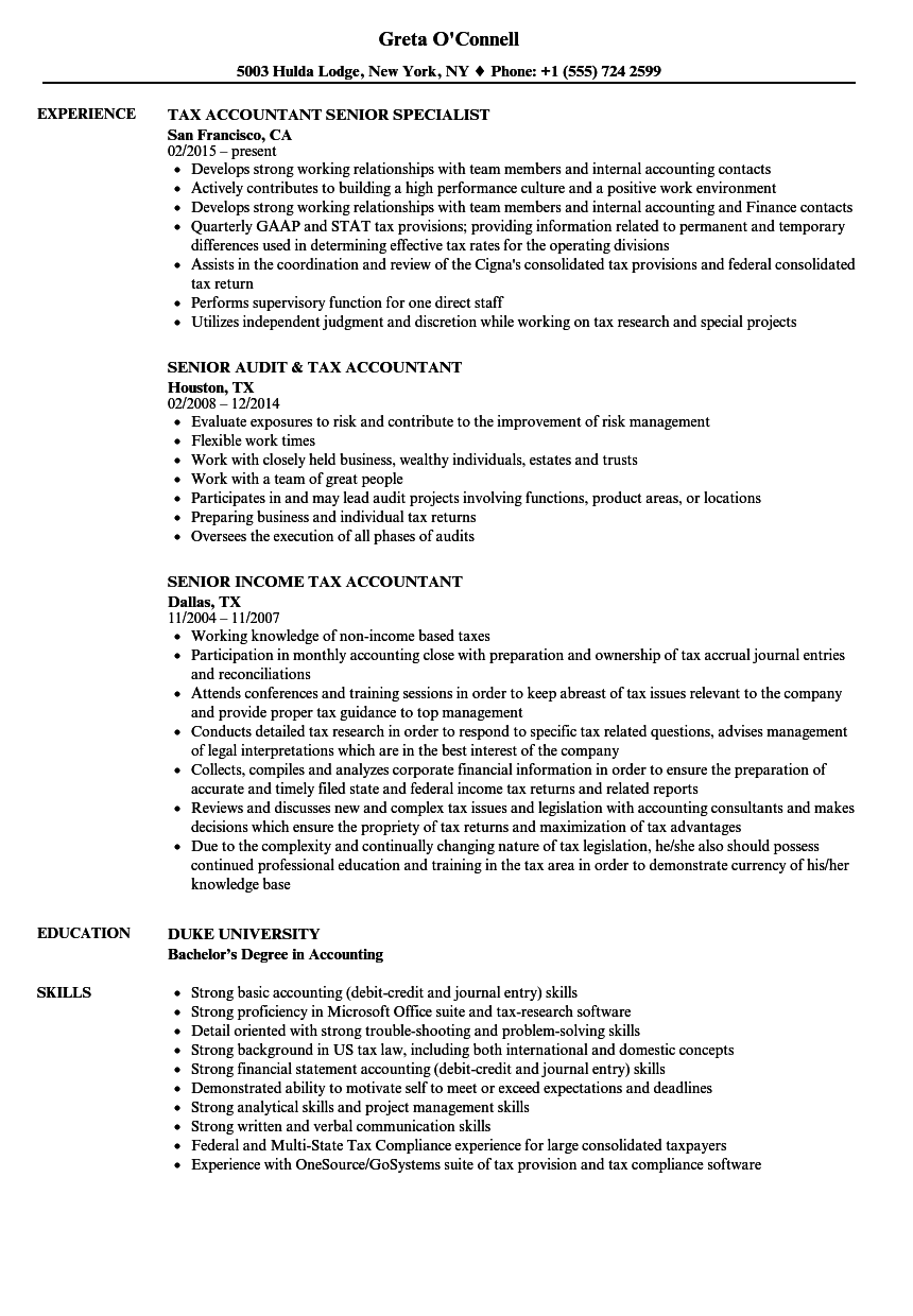 Tax Accountant, Senior Resume Samples | Velvet Jobs