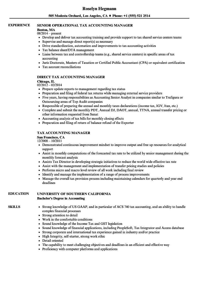 Tax Accounting Manager Resume Samples | Velvet Jobs
