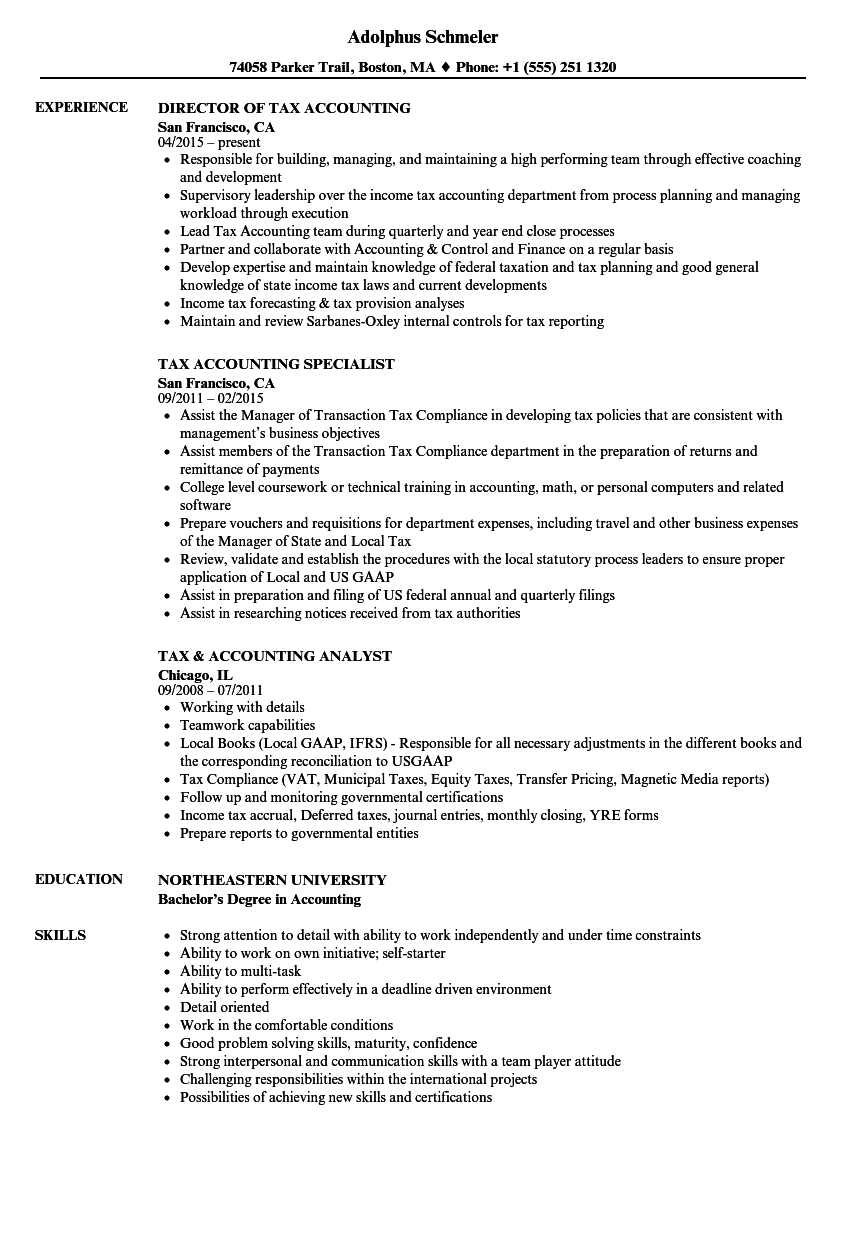 Tax Accounting Resume Samples | Velvet Jobs