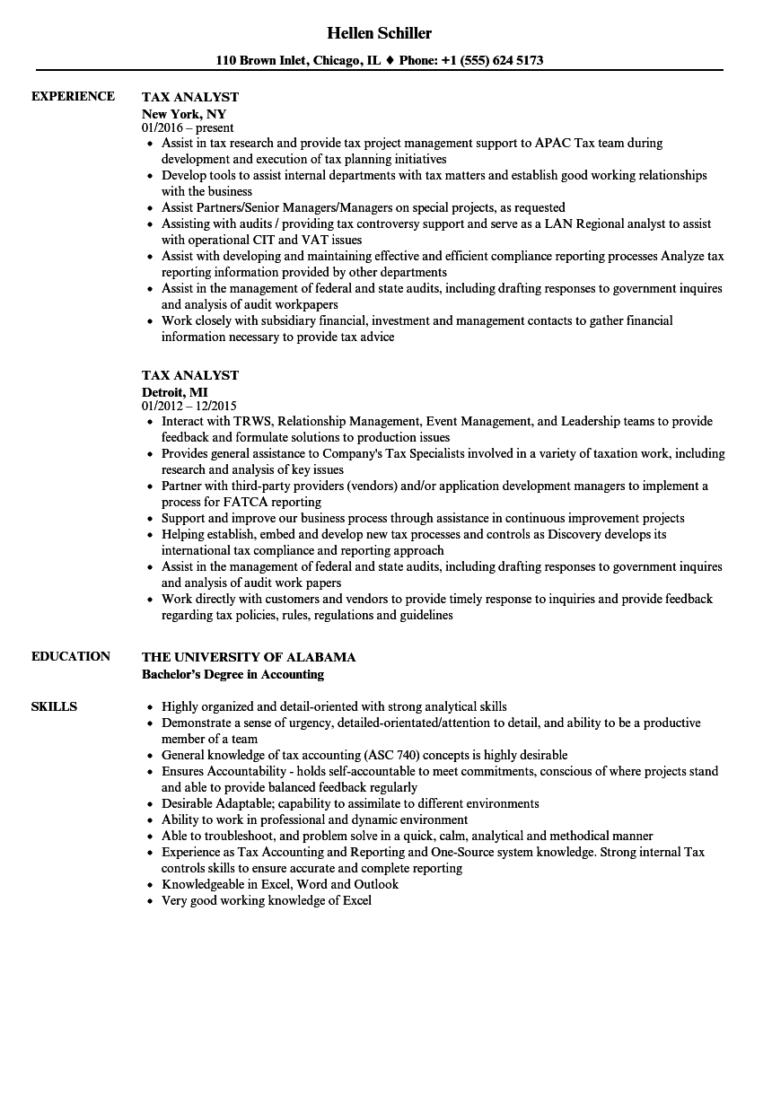 Tax Analyst Resume Samples | Velvet Jobs