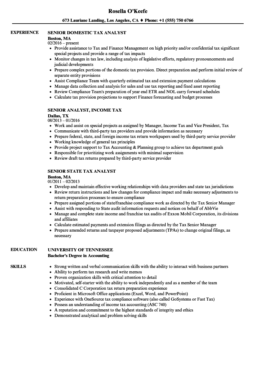 Download Tax Analyst Senior Resume Sample As Image File