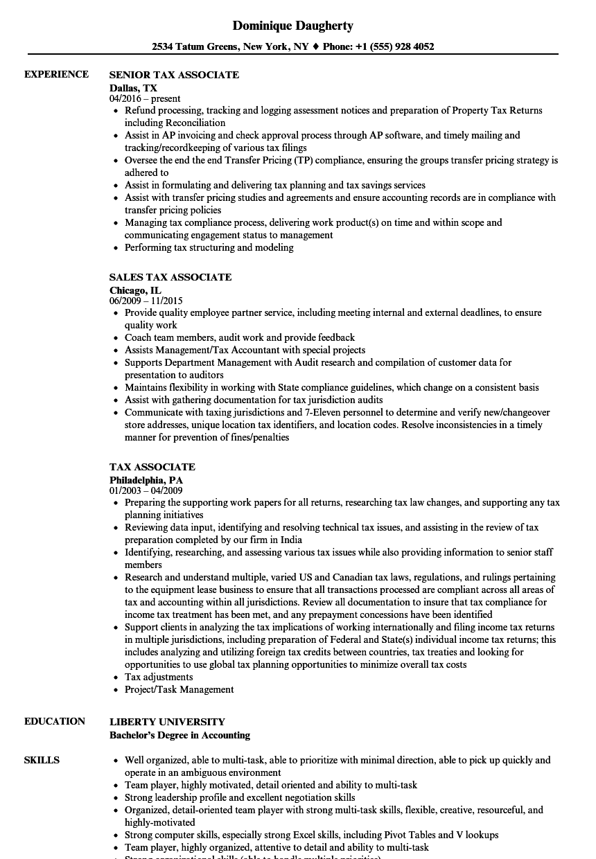 Tax Associate Resume Samples | Velvet Jobs