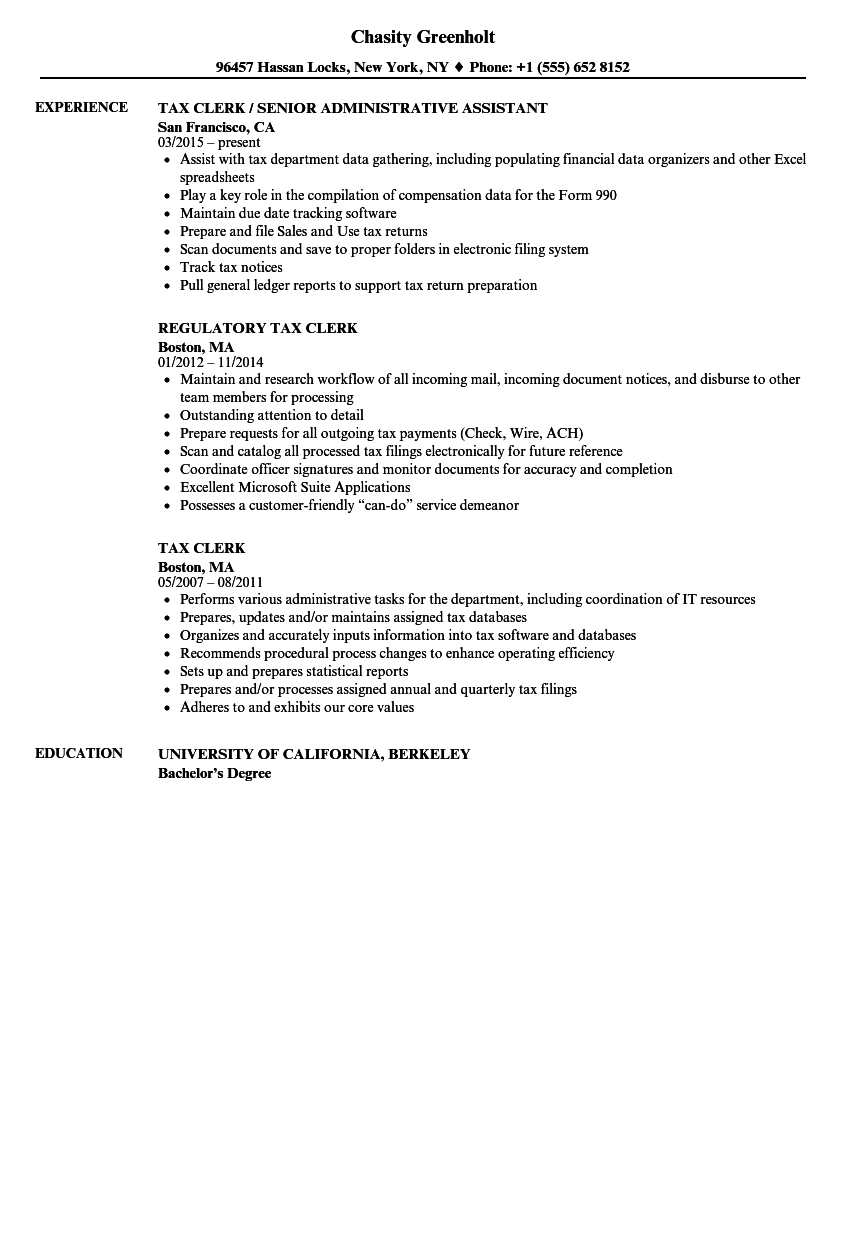 Download Tax Clerk Resume Sample As Image File