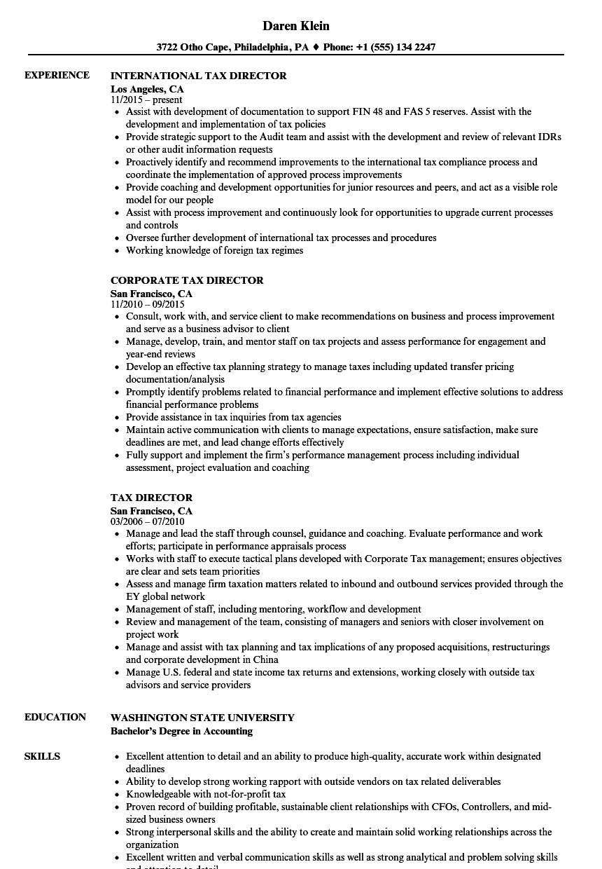 Tax Director Resume Samples | Velvet Jobs