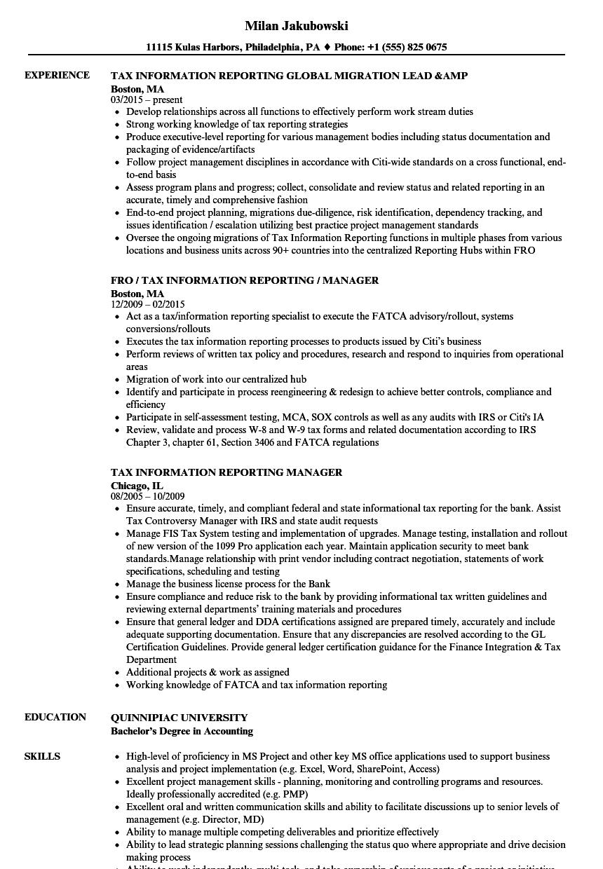Tax Information Reporting Resume Samples   Velvet Jobs