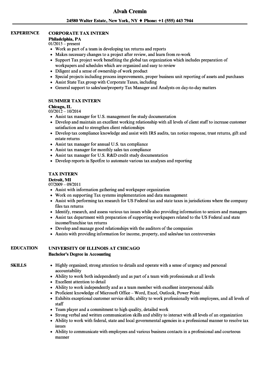 Tax Intern Resume Samples | Velvet Jobs
