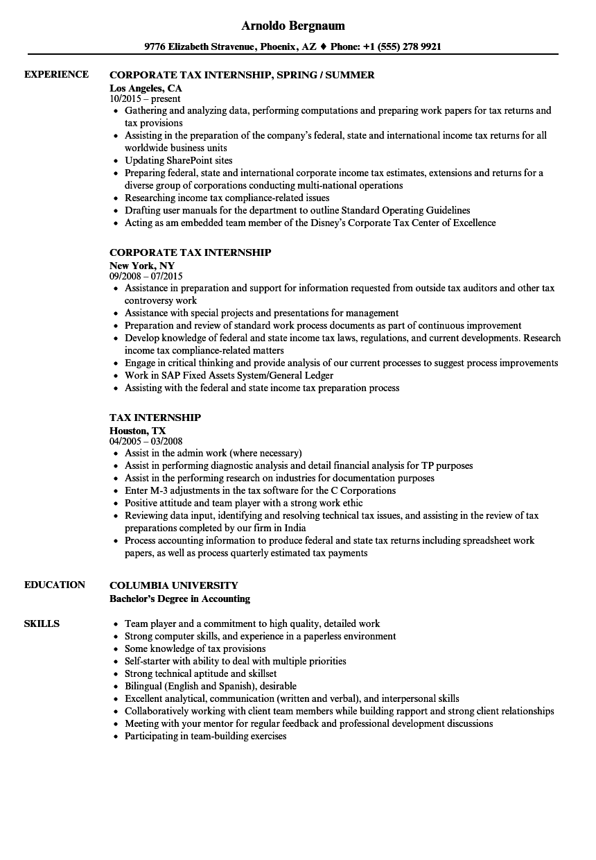 Tax Internship Resume Samples | Velvet Jobs