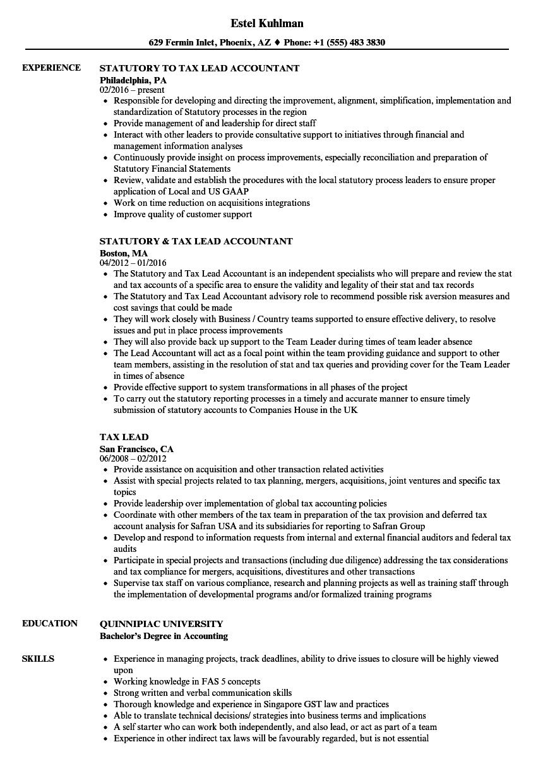 tax lead resume samples
