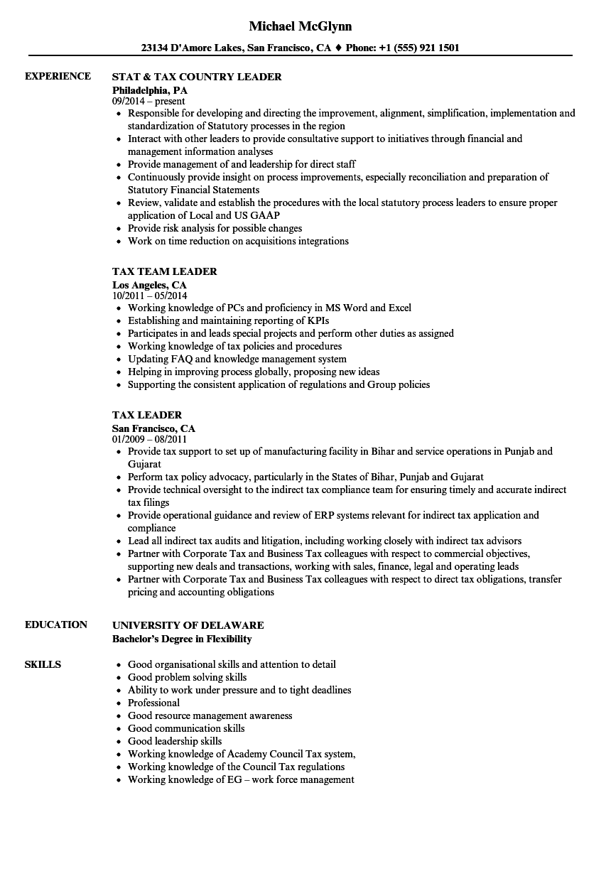 Tax Leader Resume Samples | Velvet Jobs