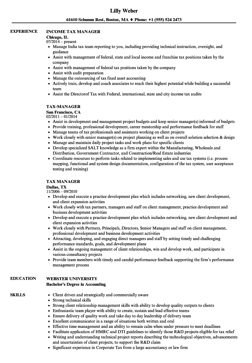 Download Tax Manager Resume Sample As Image File