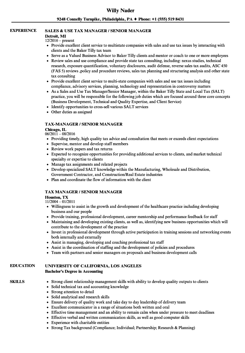 Tax Manager / Senior Manager Resume Samples | Velvet Jobs