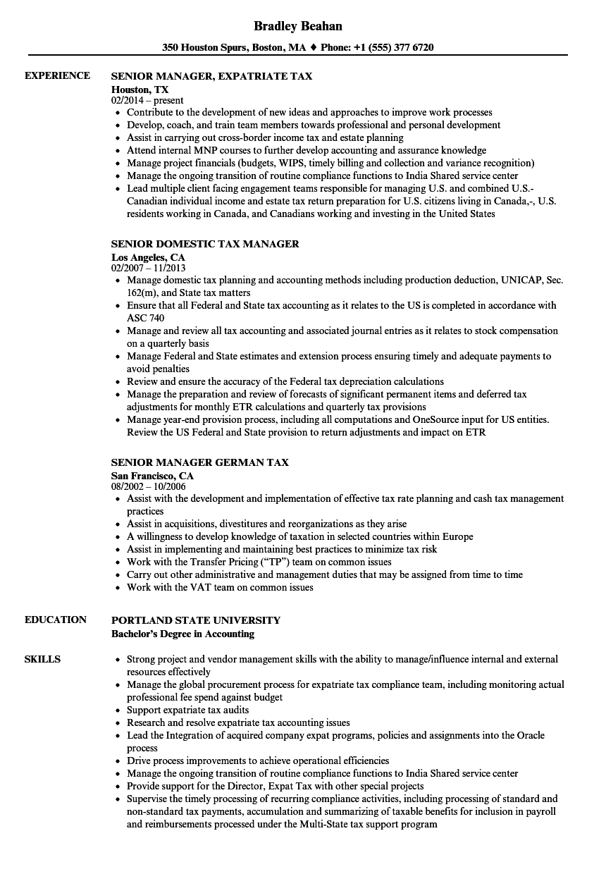 tax manager  senior resume samples
