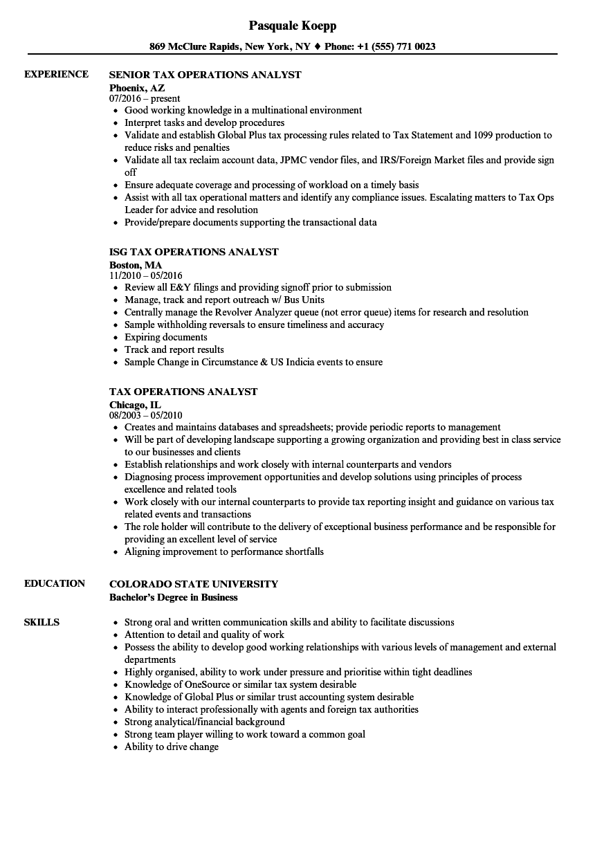Tax Operations Analyst Resume Samples | Velvet Jobs
