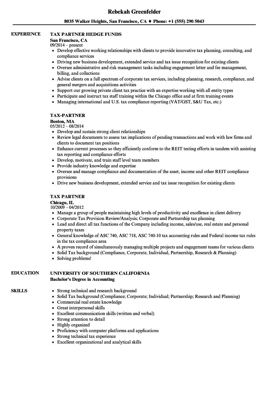 tax partner resume samples