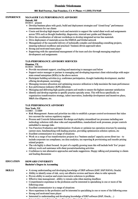tax performance advisory resume samples