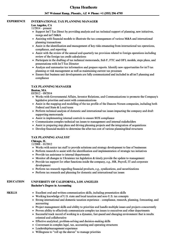 tax planning resume samples