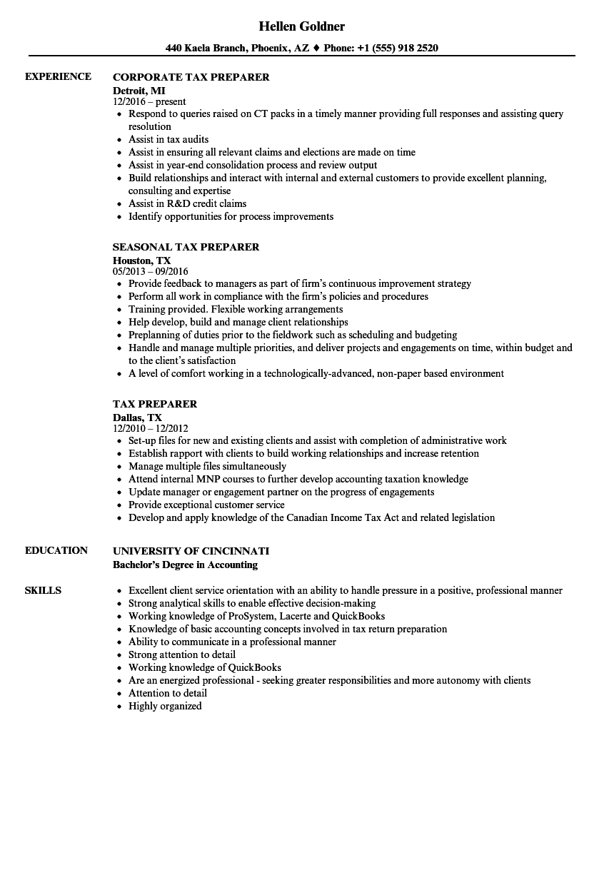 Tax Preparer Resume Samples | Velvet Jobs