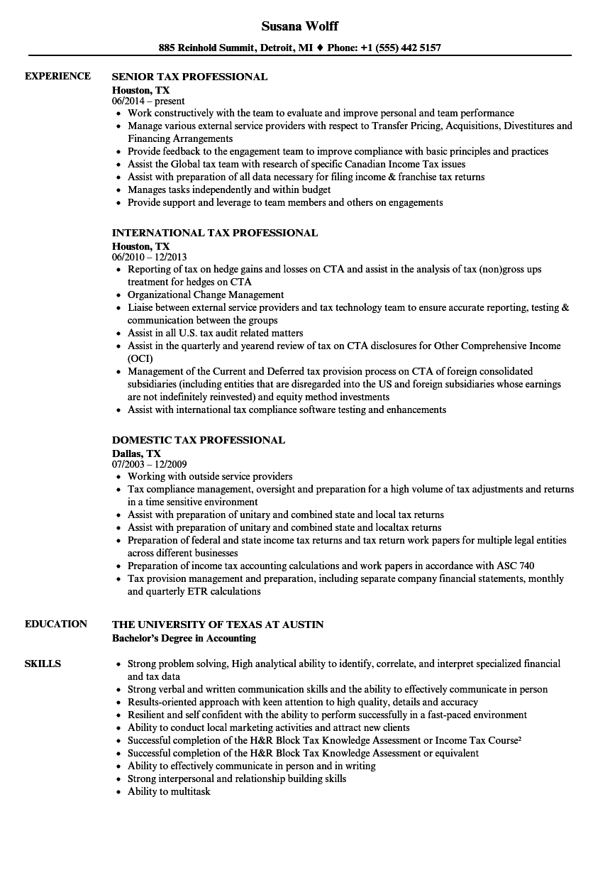 Tax Professional Resume Samples Velvet Jobs