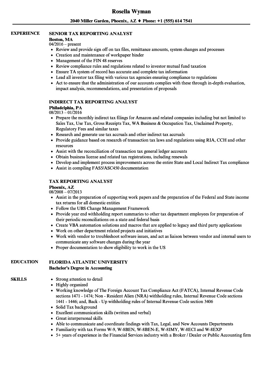 Download Tax Reporting Analyst Resume Sample As Image File