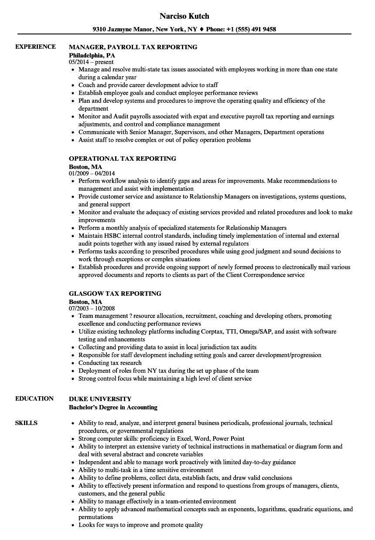tax reporting resume samples