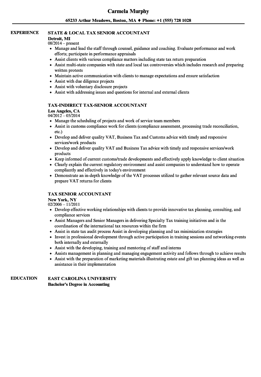 Tax Senior Accountant Resume Samples | Velvet Jobs