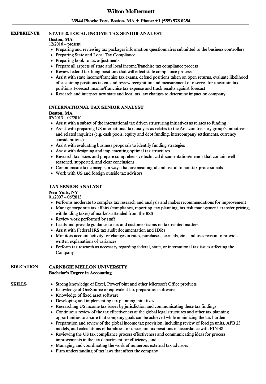 Download Tax Senior Analyst Resume Sample As Image File