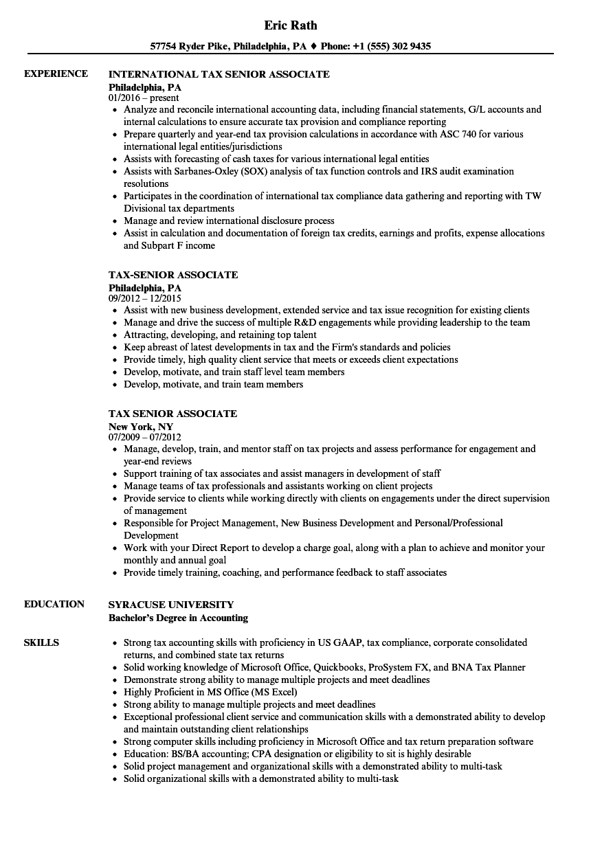 Tax Senior Associate Resume Samples | Velvet Jobs