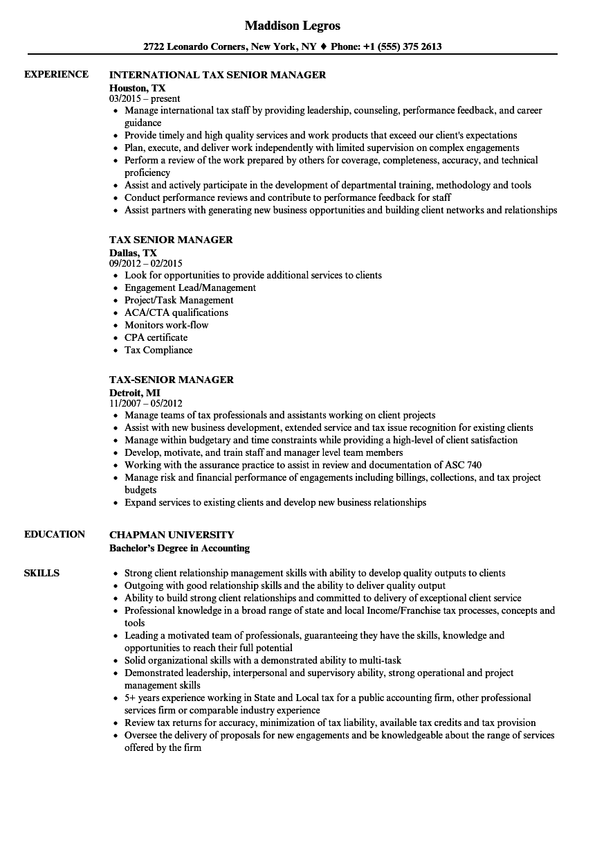 Download Tax Senior Manager Resume Sample As Image File