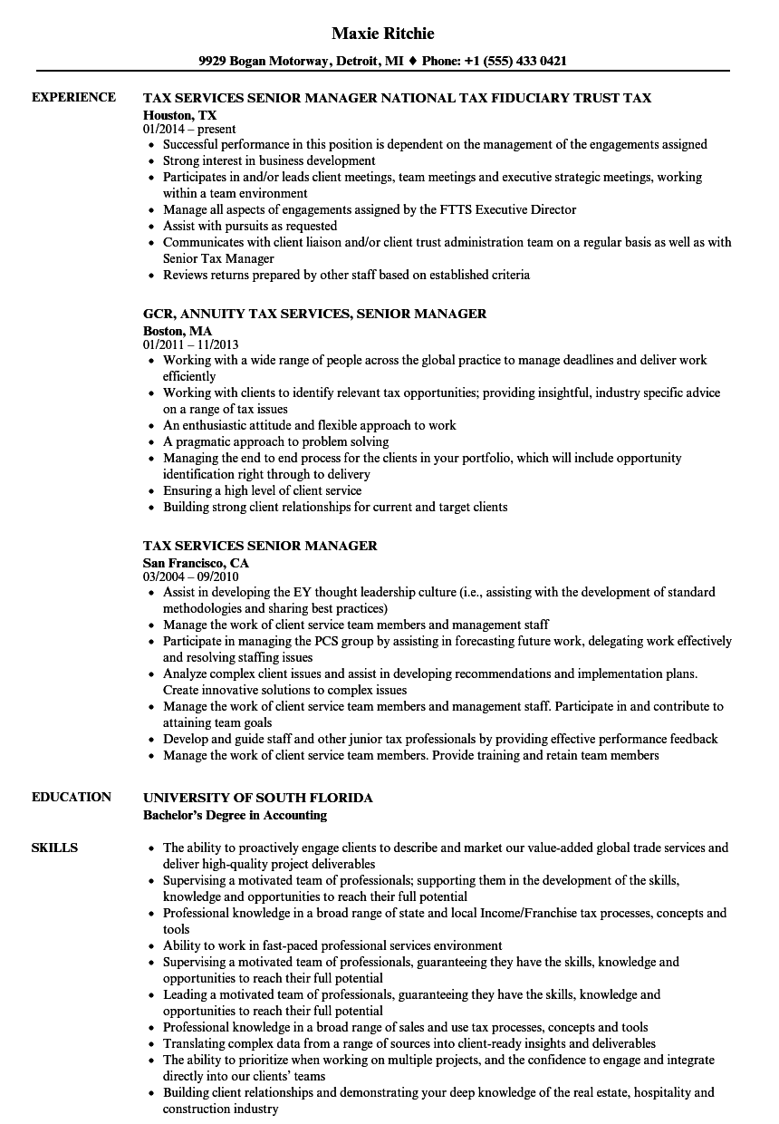 tax services senior manager resume samples