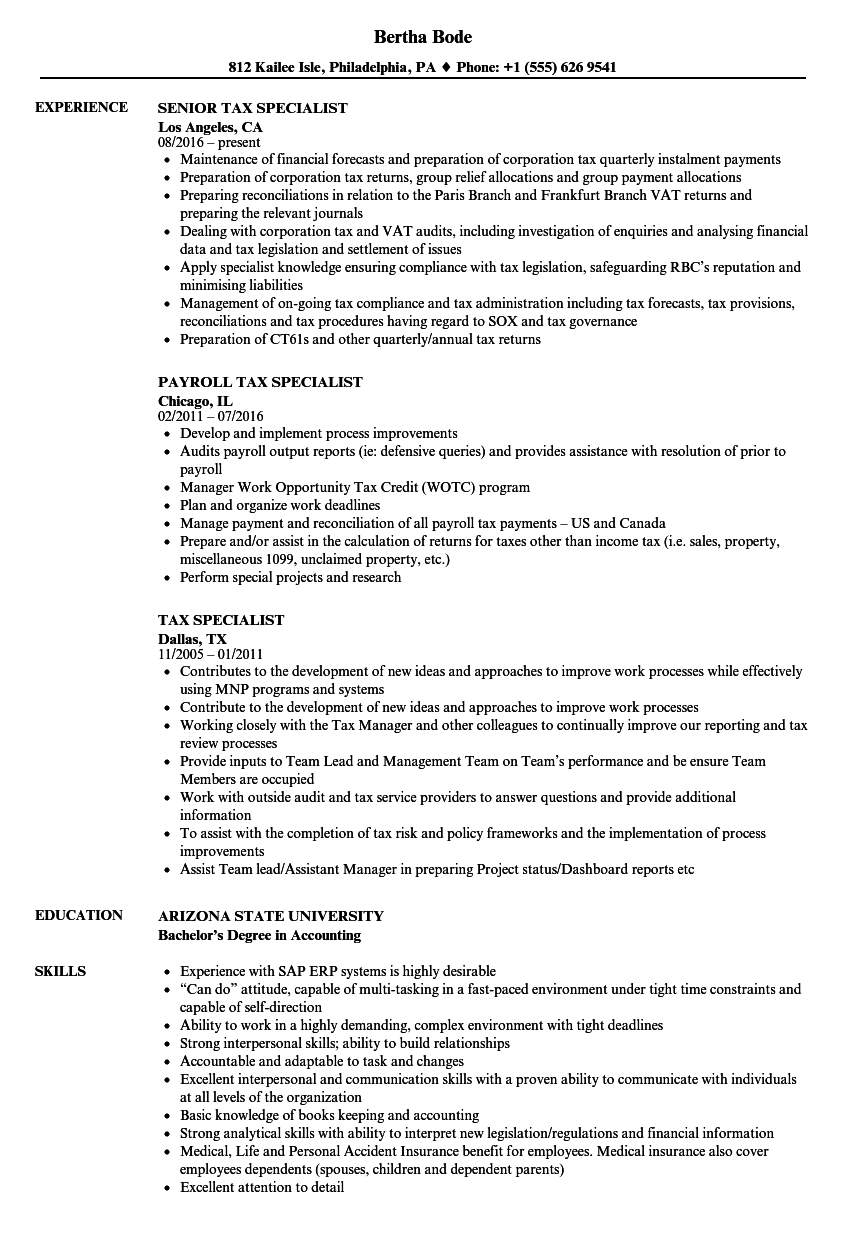 tax specialist resume samples