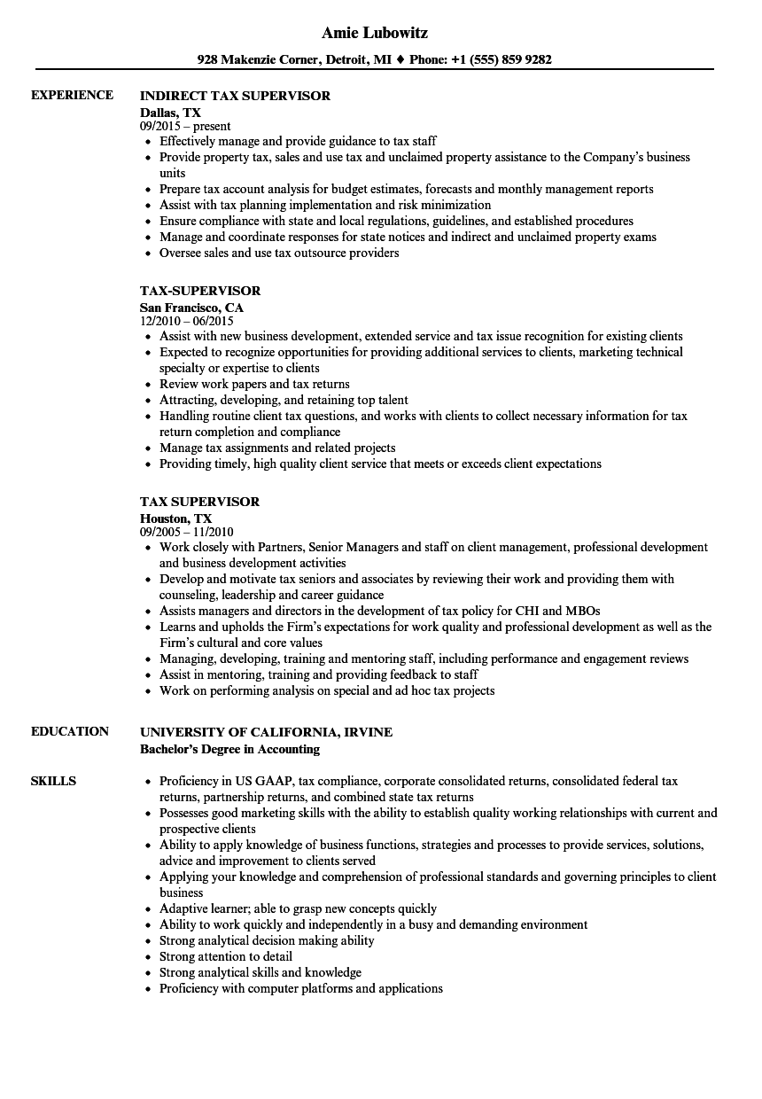 Download Tax Supervisor Resume Sample As Image File
