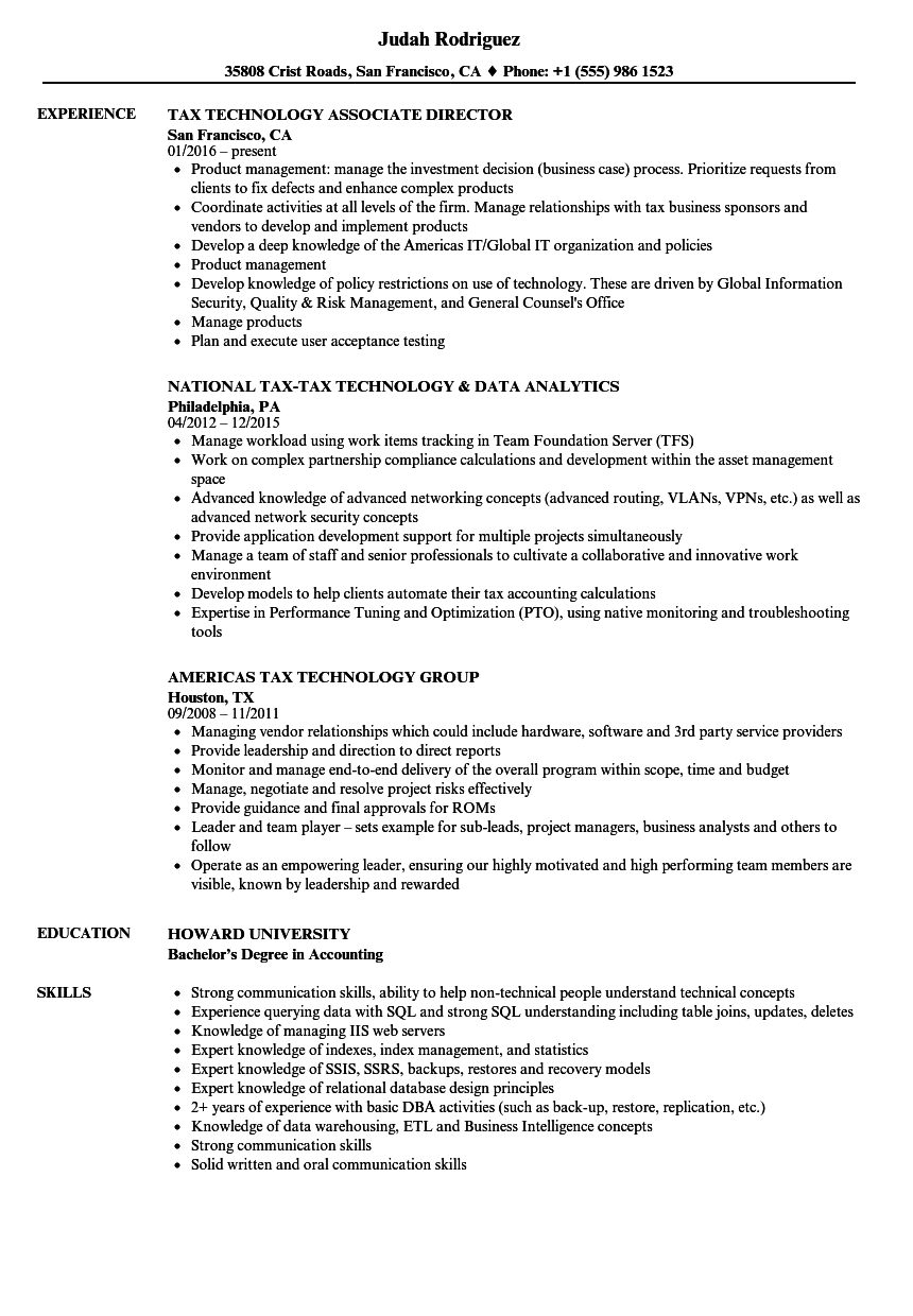 Tax Technology Resume Samples | Velvet Jobs