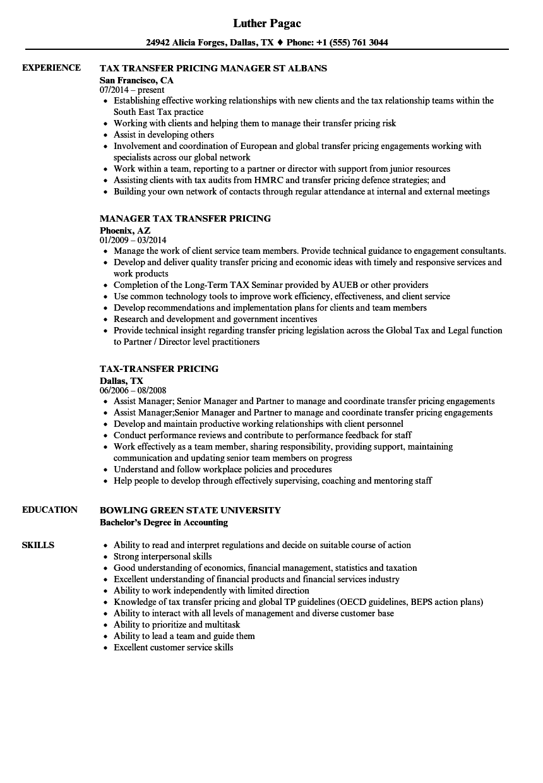 Tax-transfer Pricing Resume Samples | Velvet Jobs