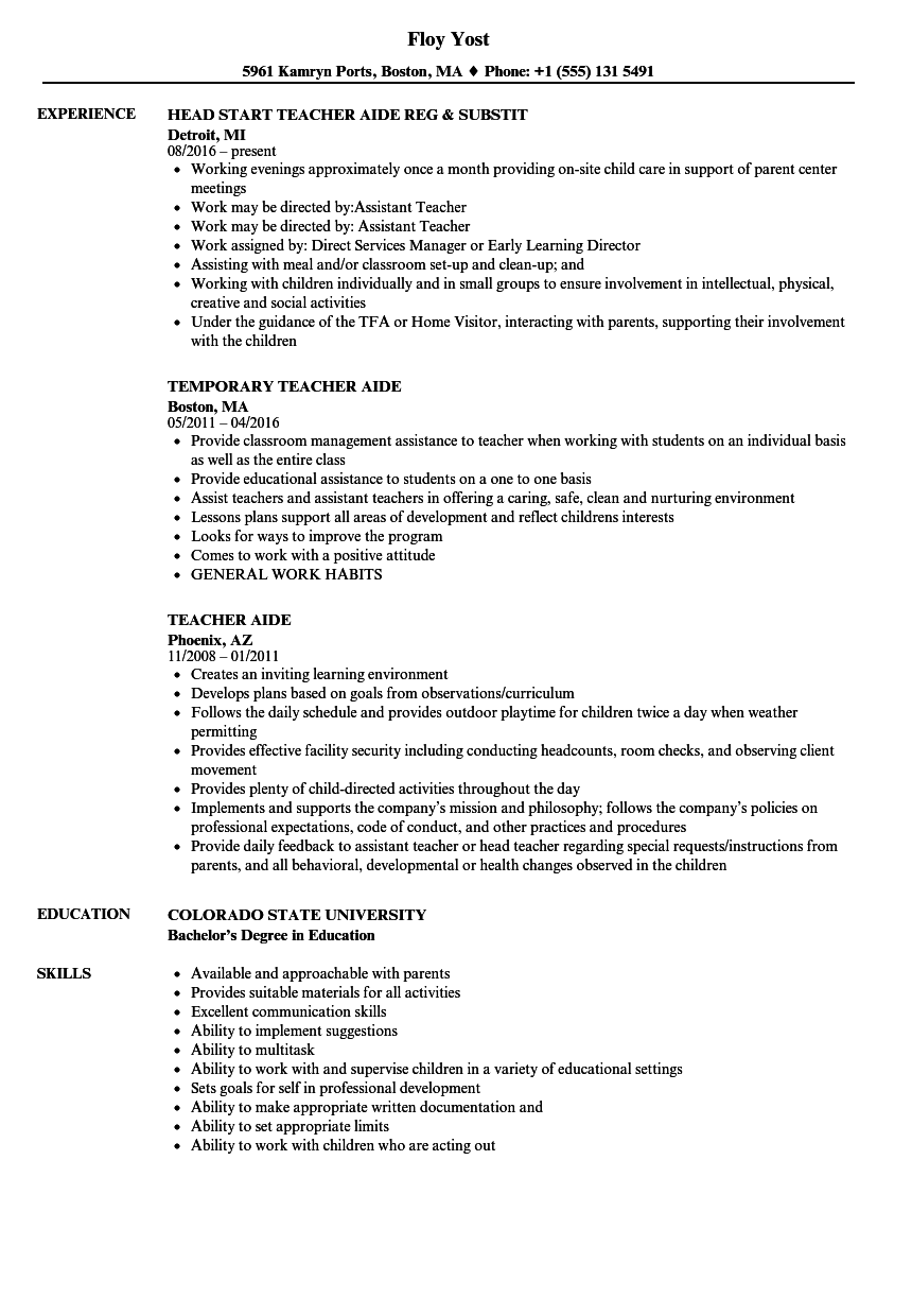 Teacher Aide Resume Samples Velvet Jobs