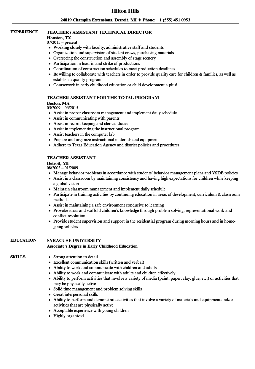 resume samples for teaching assistant