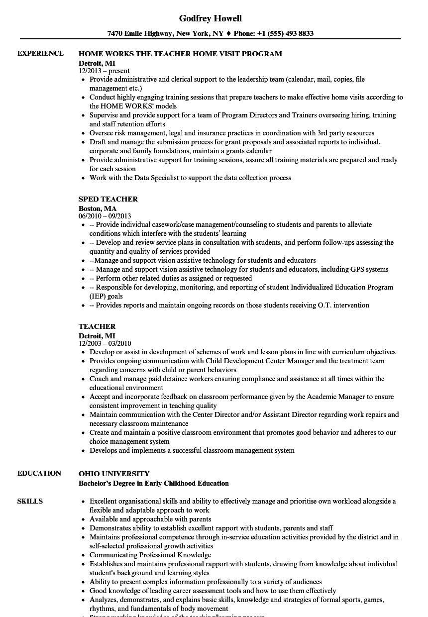 Download Teacher Resume Sample As Image File