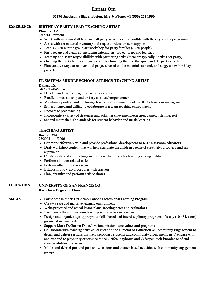 Teaching Artist Resume Samples | Velvet Jobs